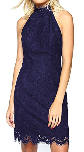 Minetom Femme Robe Elégant Été Col Pendentif Floral Dentelle Sans Manches Dos Nu Plage Party Cocktail Mini Robe Bleu