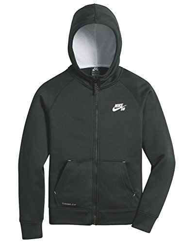 Nike Jungen Kapuzenpullover Boys Hoodie Skateboard Junior Hooded Top SB Logo Full Zip Sweat Black Grey (Small (Manufacturer Size:8-10 Years), Anthracite) -