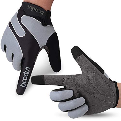 boildeg Fahrradhandschuhe Radsporthandschuhe rutschfeste und stoßdämpfende Mountainbike Handschuhe mit Signalfarbe geeiget Unisex Herren Damen (Grau, S)