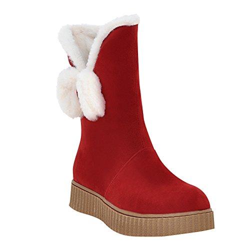 Mee Shoes Damen Pompon halbschaft Nubukleder Schneestiefel Rot