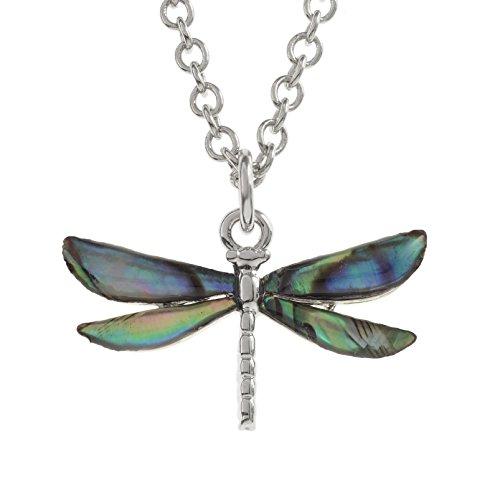Kostüm Schmuck Libelle (Kiara Schmuck Anhänger Libelle Halskette eingelegten mit natürlichen Türkis Paua Abalone Shell auf 45,7 cm Trace Kette. Rhodiniert, Anlauf)