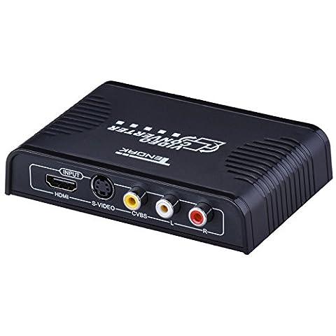 Tendak S-video + HDMI + 3RCA AV CVBS R/L Audio zu HDMI Video Konverter Adapter 720P/1080P mit Schalter für PS4 Blu-ray Player HDTV und Mehr