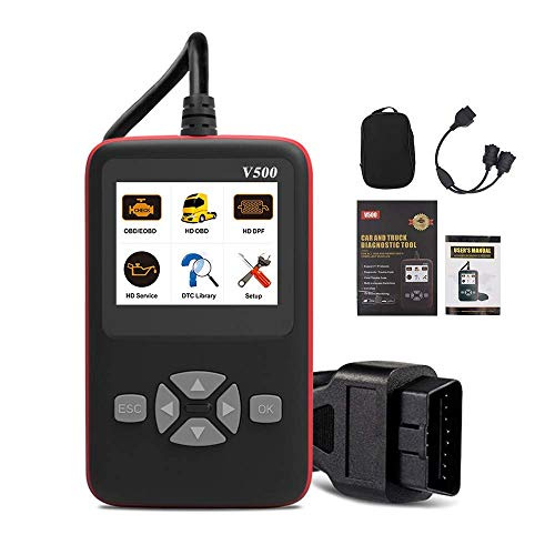 HTSHOP Auto- / LKW-Fehlerdiagnoseinstrument, OBDII-Codeleser V500 CR-HD, Hochleistungs-LKW und Autoscanner, große Bildschirmanzeige/Schnellabfrage mit Einer Taste