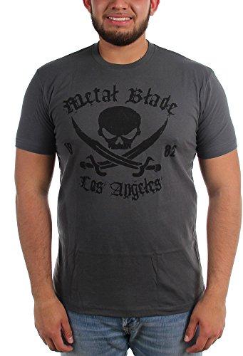 Metal Blade Records, Logo pirata, da uomo, colore: nero su Maglietta, colore: mélange Mélange scuro Large