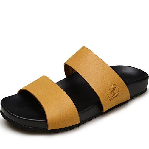 Männer Leder Strand Slipper Klassisch Offener Zeh Sandalen Größe 38 bis 43, Yellow, EU40 -
