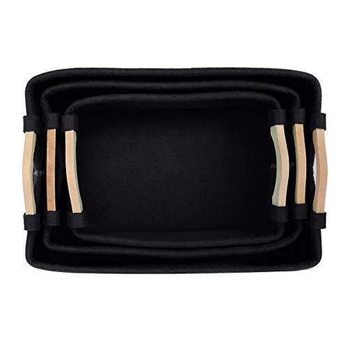 TuToy 3Pcs Rectangular Box Felt And Wood Woven Storage Baskets Hamper - schwarz