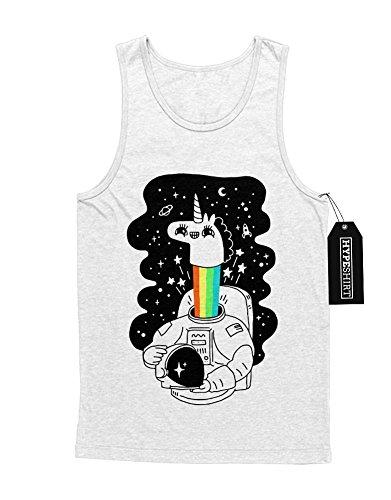 Tank-Top Einhorn Anstronaut Regenbogen Universium Weltall Sterne Saturn Rakete H970007 Weiß (Kostüme Lady Rainicorn)