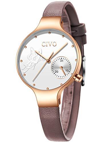 Civo orologi donna orologio da polso minimalista moda affare affari impermeabile da donna orologi al quarzo analogici marrone bianco casual per donne ragazze