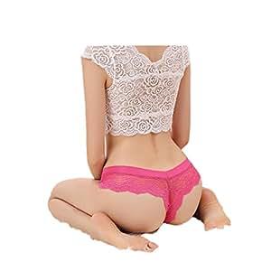 Amlaiworld Donna Intimo,V-string Perizoma Slip intimo mutandine tanga in pizzo lingerie (rosa caldo)