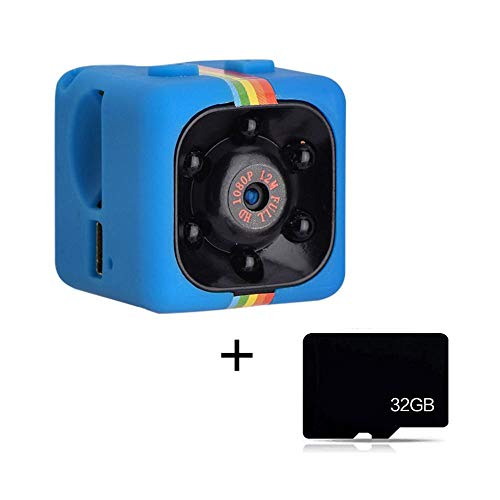 Mini Camera HD 1080P SQ11, Spy Cam HD Camcorder 12MP Hidden Action Camera in metallo Supporto Visione Notturna Infrarossi e Rilevatore di movimento, Mini Videocamera Sportivo, con 32G TF Card(blu)