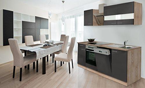 respekta Einbau Küche Küchenzeile 220 cm Eiche Sonoma Sägerau Front grau Ceran & Designer-Schräghaube