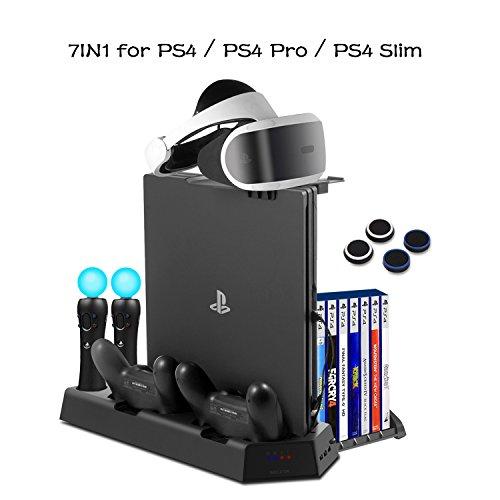 4 Slim / PS4 Pro / PS4 VR Ladestation Multifunktions vertikale Kühlungsständer mit Spiele-Speicher, Quad Ladegerät Dock für PS3/PS4 Move Motion Controller DualShock 4 ()