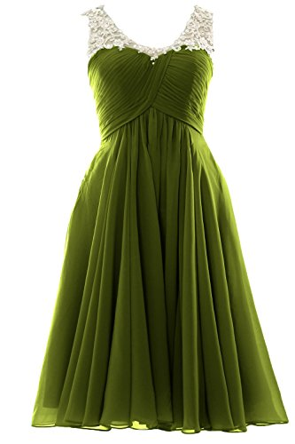 MACloth Gorgeous V Neck Short Prom Homecoming Dress Wedding Party Formal Gown Olive Green