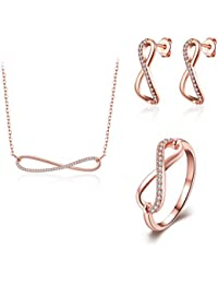 lureme® Popular Personality Chapado en oro infinito Pendant Collar Earring Anillo Joyería Set(js000669)