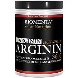 L-ARGININ 3600 HOCHDOSIERT - 320 Kapseln für ca. 4 MONATE - DEUTSCHE QUALITÄT - allergikergeeignet - OHNE ZUSÄTZE - (3.652 mg Tagesdosis) 913 mg L-Arginin-Pulver je Kapsel - Für aktive Frauen und Männer