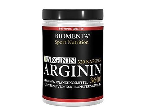 L-ARGININ 3600 HOCHDOSIERT - 320 Kapseln für ca. 4 MONATE – DEUTSCHE QUALITÄT - allergikergeeignet – OHNE ZUSÄTZE – (3.652 mg Tagesdosis) 913 mg L-Arginin-Pulver je Kapsel – Für aktive Frauen und