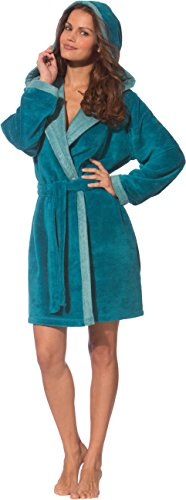 Morgenstern Bademantel Damen in Farbe Petrol mit Kapuze Kapuzen-Bademantel Schlafrock Microfaserbademantel in Größe XS Bamboo Blau