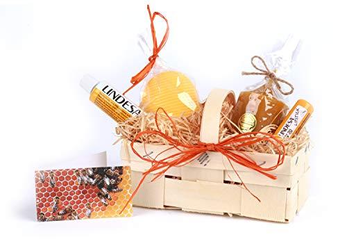 """Geschenkkorb """"Bienenwachs"""", Geschenkidee für Bienenfreunde, Bienen Geschenk, Bienenwachskerze, Lipstick und Creme mit Bienenwachs, Honigseife, Grußkärtchen in Spankorb, Muttertag, Ostern, Imkerin"""