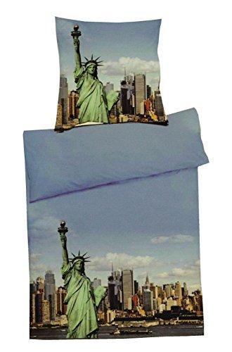 Home Edition Microfaser Fotodruck Bettwäsche New York Freiheitsstatue 155x220 + 80x80