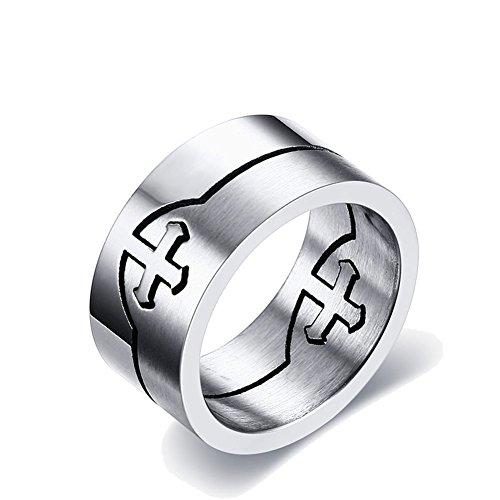 UM Schmuck Edelstahl Kreuz Puzzle Ringe für Männer Silber Abnehmbar Band