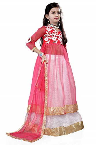 Kjp villa Girl\'s Pink Silk Semi-Stitched dress,salwar suit,gown,lehengha choli unstitched dress material for party wear, for ceremony, for weddings Unstitched Material (Kid\'s Free Size 8-12 Year)
