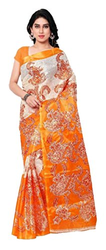 Sarees New Collection Latest Sarees Women's Art Silk Saree (Orange) (Saree Centre Sarees For Women Party Wear Offer Designer Sarees For Women Latest Design Sarees New Collection Saree For Women Saree For Women Party Wear Saree For Women In Latest Saree With Designer Blouse Free Size Beautiful Saree For Women Party Wear Offer Designer Sarees With Blouse Piece)  available at amazon for Rs.279