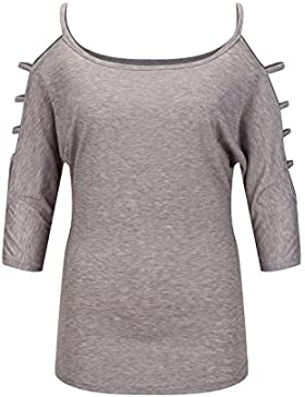Beauty7 Camisetas Mujeres Casual Loose Hollowed Out Hombro Hueco Manga Top Flexible Camisas Verano Blusa T-shirt...