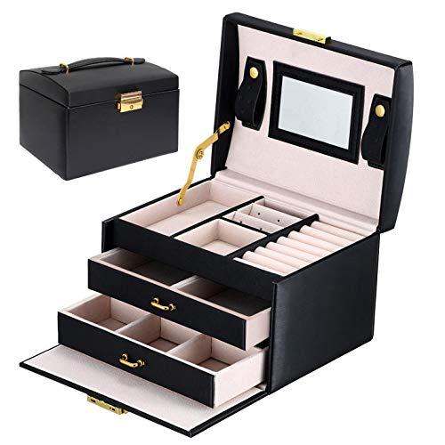 Asvert Schmuckkästchen abschließbar Schmuckkoffer mit 2 Schubladen Spiegel PU Leder, 17 * 12 * 12.5cm (Schwarz) -