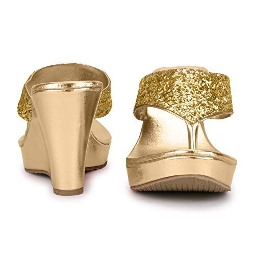 SHOFIEE Women's Gold Leather Wedges -37