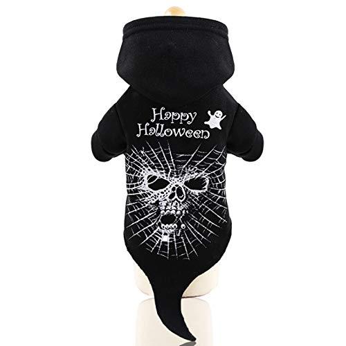 Katze Skelett Kostüm - dianzhi Hundekostüm, Skelett mit Kapuze, Halloween-Pullover, für kleine und mittelgroße Hunde, Welpen, Katzen, warme Kleidung, Urlaub, Halloween, Kostüme