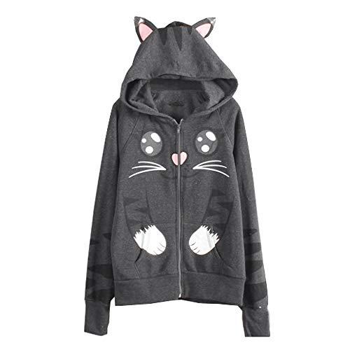 TWIFER Reißverschluss Hoodie Sweatshirt Katze der Damen Mädchen -