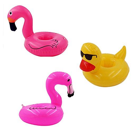 Ruiting Aufblasbare Schwimmen Wasser Float Drink Cup Halter Coaster Sommer Pool Party Supplies Halloween Weihnacht Geschenk(3 Arten: Flamingos, Sonnenbrille Entlein, Pulver Schwan)