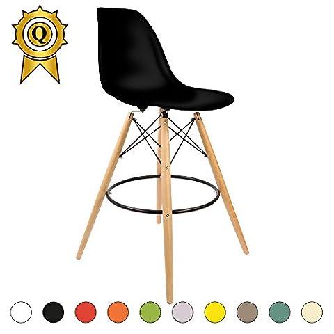 Promo 4 x Chaise Haute Bar Tabouret Eiffel Pieds Bois Clair Assise Noir Mobistyl® DSWHL-NO-4