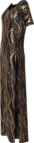 F4S® Women's Plus Size Gold/Silver Glitter Party Maxi Ladies Short Sleeve Side Slit Long Dress 16-28 (20, Gold Amoeba)