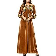 Mujeres Musulmán Árabe Terciopelo Maxi Vestidos Casual Floral Cinturón Bohemio Vestido