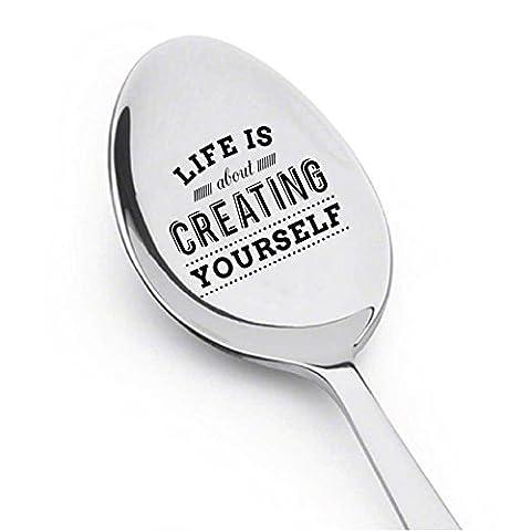 La vie est à Propos de la création vous-même avec Adorable Motif gravé–argenterie–Meilleures Ventes de l'article Cadeau–pour lui–Cadeau pour elle–Les amoureux de cadeau–Cuillère Cadeau