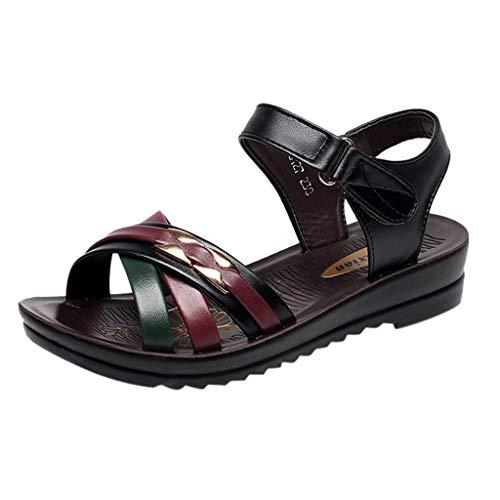 Yvelands Schuhe Damen Sommer Mode Leder Sandalen Wedges Komfort Big Size ()