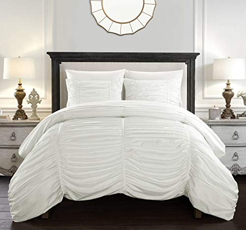 Chic Home Kaiah 3 Piece Comforter Set Contemporary Striped Ruched Ruffled Design Bedding-Decorative Pillow Shams Included, Queen, White -