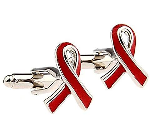 NEW Mens Red Ribbon Cufflinks Cuffs Ribbon Awareness HIV Aids
