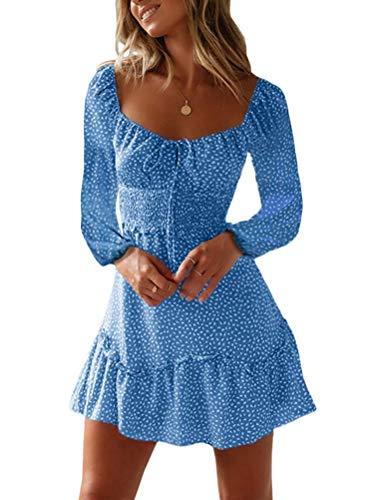 Tomwell Damen Blumen Sommerkleid High Waist Volant Kleid Vintage Minikleid Strandkleid B Blau DE 34 (Lang Neck Kleid Square)