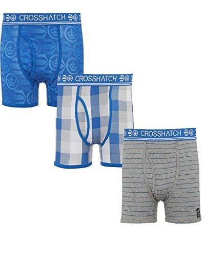 Uomo Crosshatch A Scacchi E A Righe Confezione Da 3 Elasticizzato Boxer Di Cotone Biancheria Intima Tronchi BLOGO - ROYAL BLUE