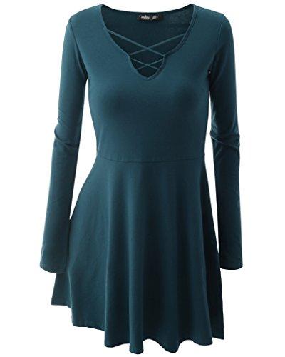 Oderola Damen Basic Skaterkleid V Neck Kleid Stricken Langarm Falten Kleid Elegant Hellblau