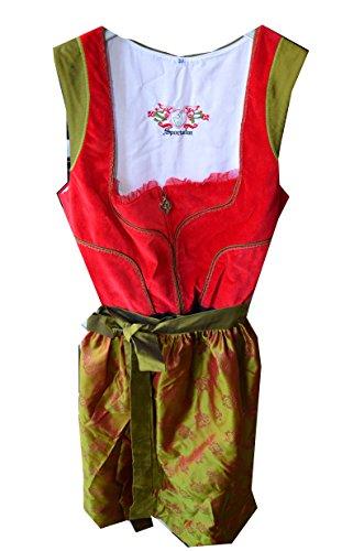 Sportalm Kitzbühel Dirndl Trachtenkleid Kleid und Schürze Balkonettdirndl Modell: Podersdorf Gr. 38 Farbe: Rot / Grün Modell: SA787039 Länge: Midi Dirndl NEU! Dirndl Trachtenkleid