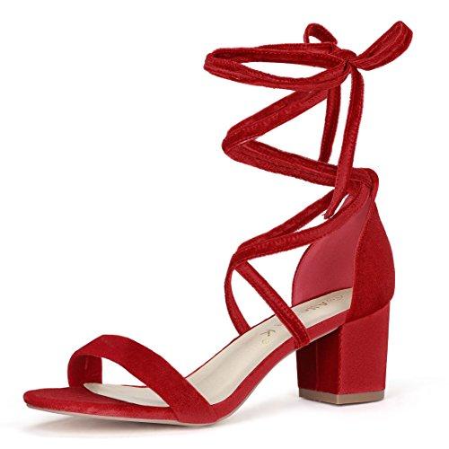 Allegra K Damen Sommer offene Zehen Schnuerschuh mittlere Sandalen Blockabsatz Rot 36 EU/Label Size 6 US -