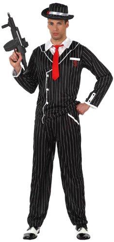 Kostüm Homme Noir - Déguisement homme gangster noir rayé - Homme - XL