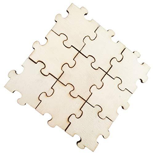 Amosfun Holz Scheiben Holz Puzzle Natürliche Holz Ausschnitte Tisch Streu Deko für DIY Handwerk zum Basteln Bemalen 3cm 50 Stück