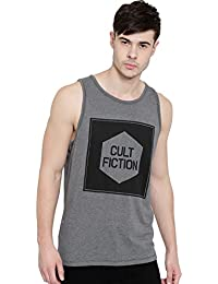 Cult Fiction Round Neck Sleeveless Comfort Fit Grey Marl Color Cotton Sleeveless Tshirt For Men