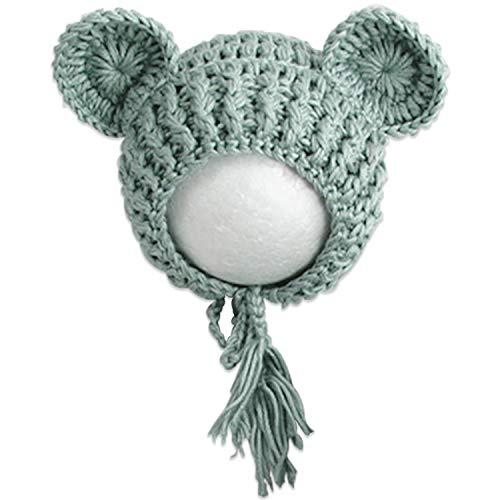 Bembika Lovely Chunky Crochet Bonnet and Bear Photography Photoshoot Props (GREY)(SET OF 2)