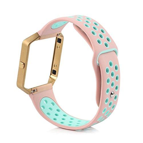 Burgund-gold-finish (owikar Fitbit Blaze Silikon Armband Ersatz Gummi Band für Smart Fitness Uhren Fitbit Blaze Dual Farben Größe (7.1in–8,5in) für Damen & Herren)