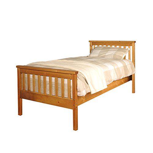 3ft Single Atlantis Style Wooden Pine Bed Frame in Caramel with Kerri Mattress